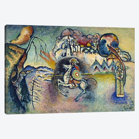 Saint George Rider and the Dragon Canvas Print #11419} by Wassily Kandinsky Canvas Art