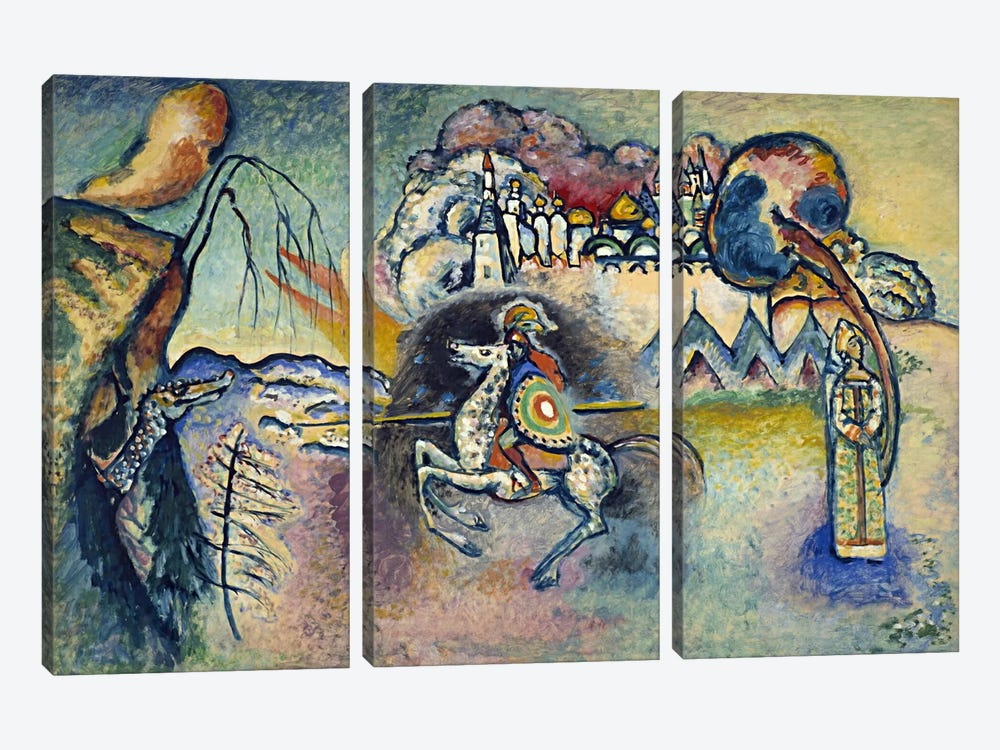 Saint George Rider and the Dragon by Wassily Kandinsky 3-piece Canvas Print