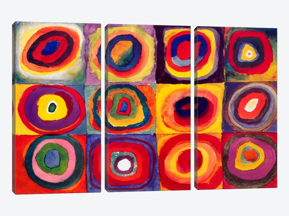 Squares with Concentric Circles by Wassily Kandinsky 3-piece Art Print