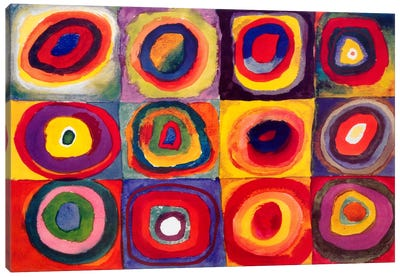 Squares with Concentric Circles Canvas Art Print