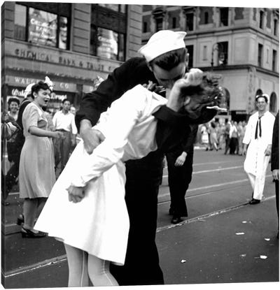 Kissing the War Goodbye - V-J Day in Times Square Canvas Art Print