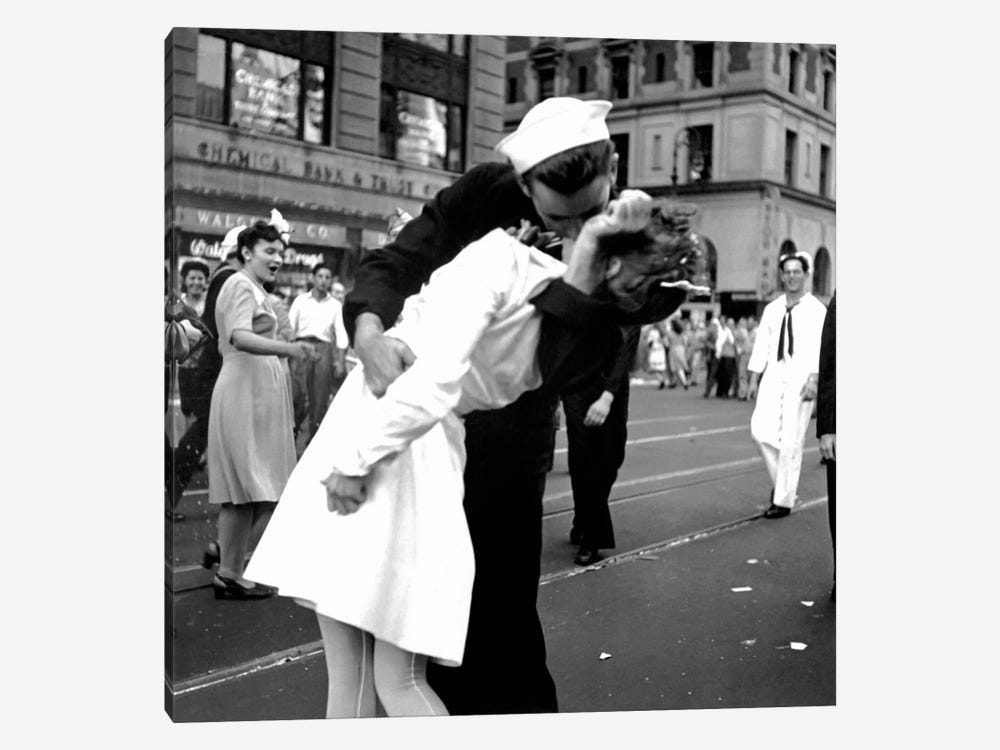 Kissing the War Goodbye - V-J Day in Times Square by Victor Jorgensen 1-piece Canvas Artwork
