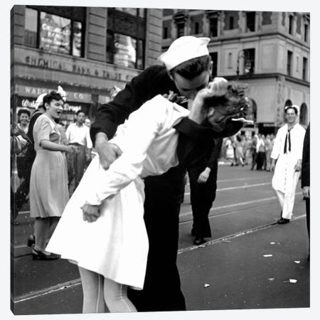Kissing the War Goodbye - V-J Day in Times Square Canvas Print #11434} by Victor Jorgensen Art Print