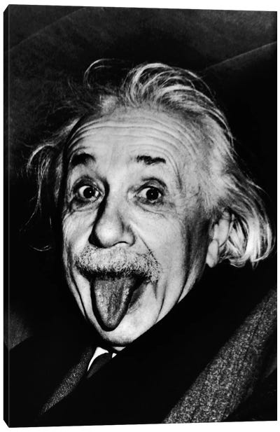 Albert Einstein, Sticking His Tongue Out Canvas Art Print