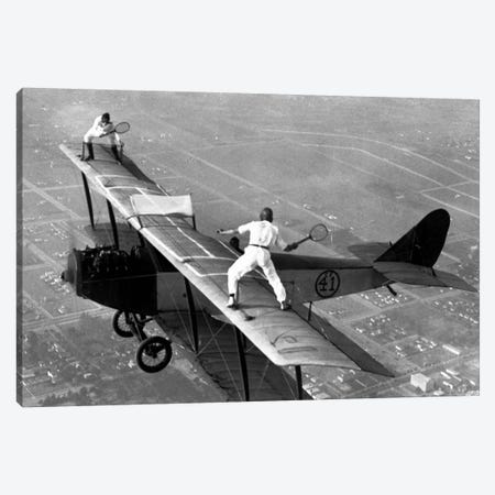 Playing Tennis on a Biplane in 1925 Canvas Print #11438} by Unknown Artist Canvas Artwork