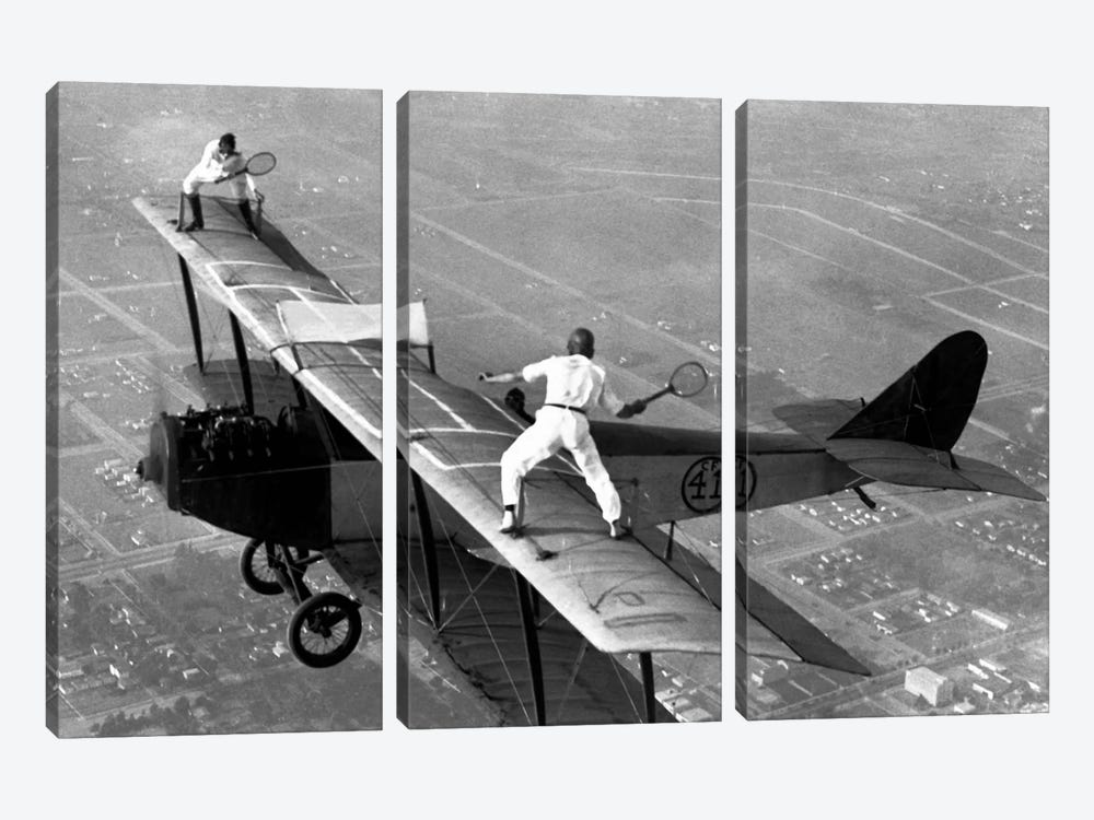 Playing Tennis on a Biplane in 1925 3-piece Canvas Artwork