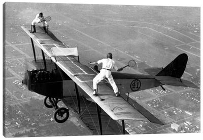 Playing Tennis on a Biplane in 1925 Canvas Art Print