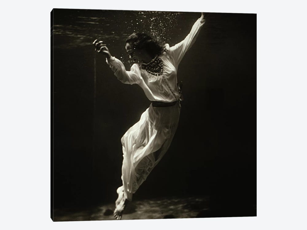 Fashion Model Underwater in Dolphin Tank (MarinelandFlorida) by Toni Frissell 1-piece Canvas Art