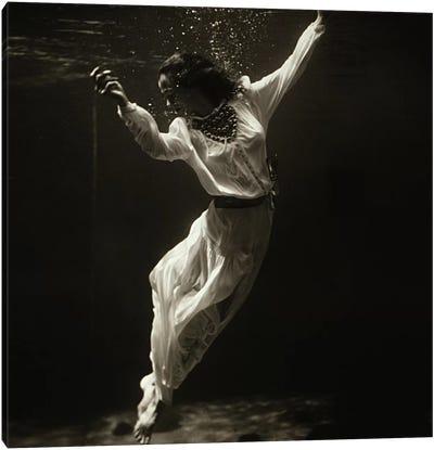 Fashion Model Underwater in Dolphin Tank (MarinelandFlorida) Canvas Art Print