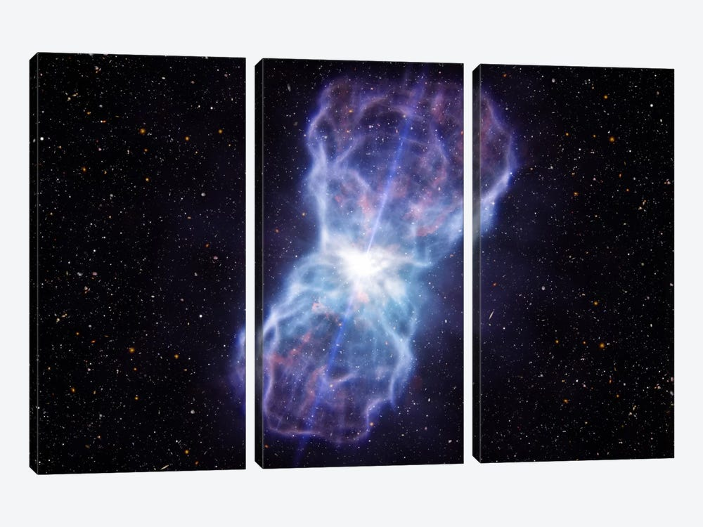 Supermassive Black Hole - Quasar SDSS J1106 Ejected Material by European Southern Observatory (ESO) 3-piece Canvas Wall Art