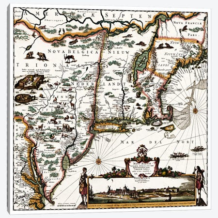 Antique Map of ConnecticutMaine, Maryland, Massachusetts, New Hampshire, New Jersey, New York) Canvas Print #11459} by Unknown Artist Canvas Artwork