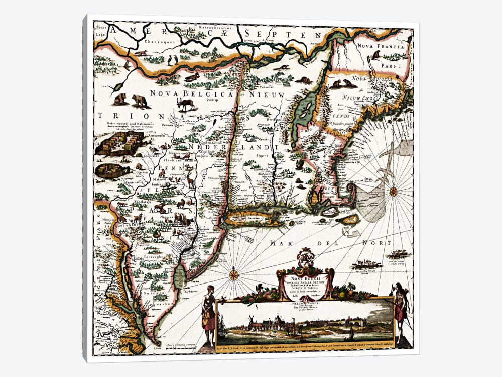 Antique Map of ConnecticutMaine, Maryland, Massachusetts, New Hampshire, New Jersey, New York) by Unknown Artist 1-piece Canvas Print
