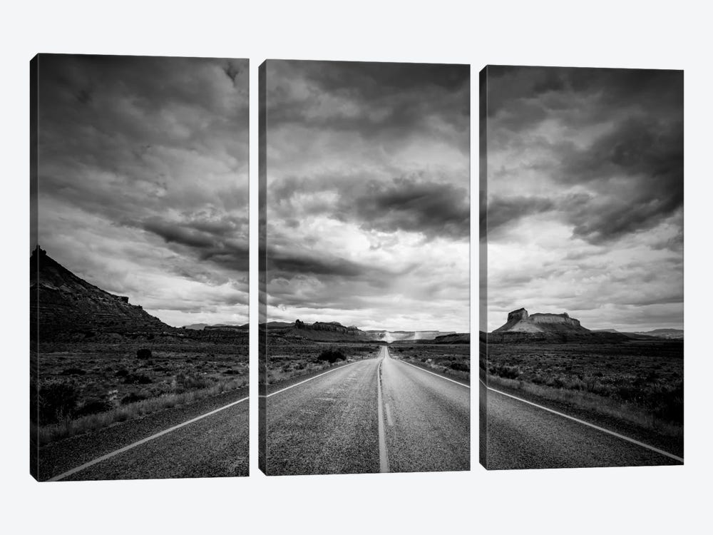 Long Stretch of Road 3-piece Canvas Print