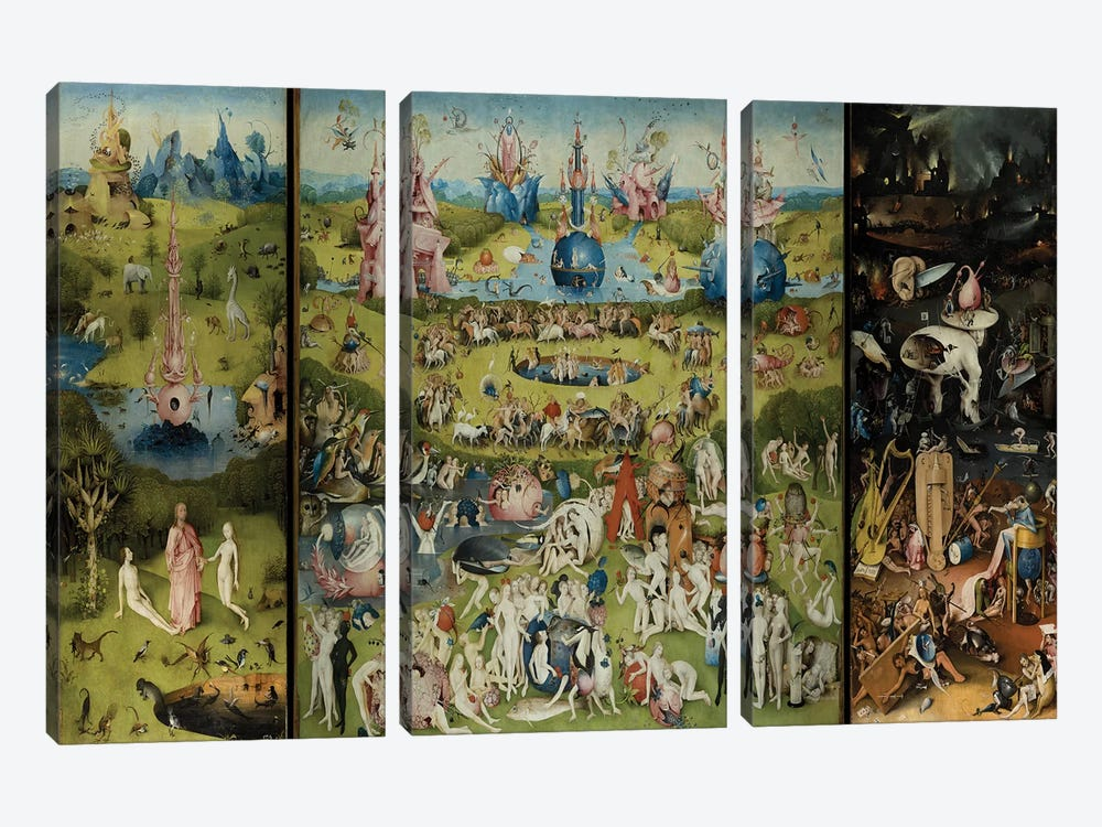 The Garden of Earthly Delights 1504 by Hieronymus Bosch 3-piece Canvas Print