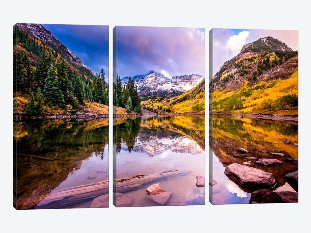 Maroon Bells by Dan Ballard 3-piece Canvas Artwork