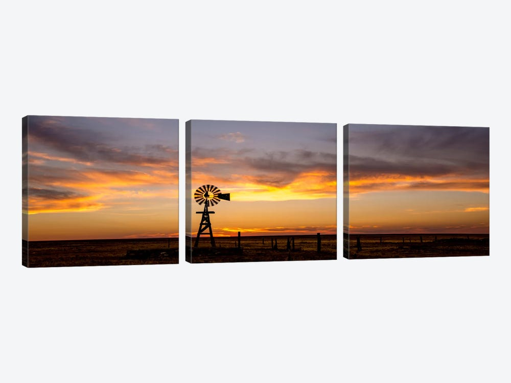Plains Windmill by Dan Ballard 3-piece Canvas Artwork
