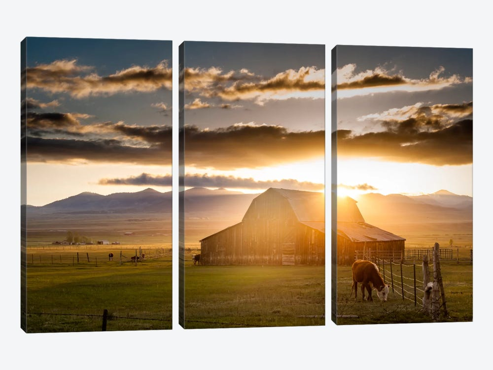 Wet Mountain Barn l by Dan Ballard 3-piece Canvas Art Print