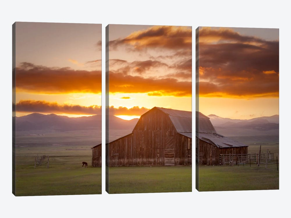Wet Mountain Barn ll by Dan Ballard 3-piece Canvas Wall Art