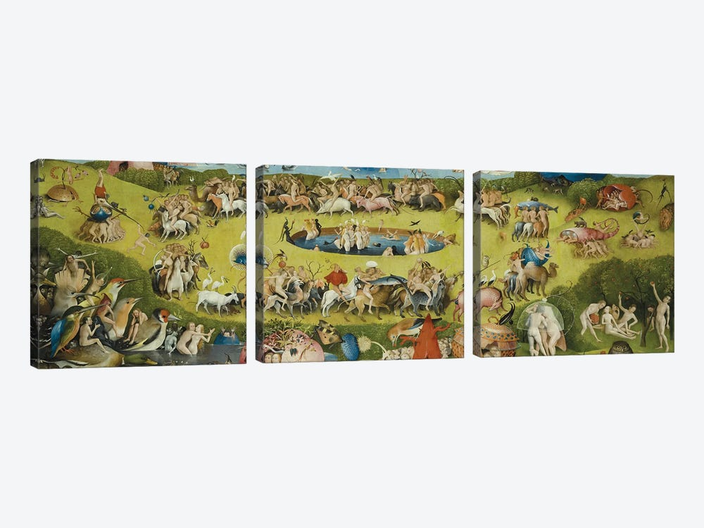 Top of Central Panel from The Garden of Earthly Delights by Hieronymus Bosch 3-piece Canvas Print