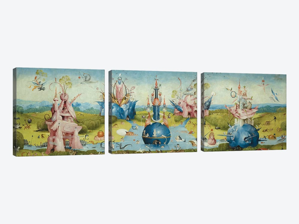 Top of Central Panel from The Garden of Earthly Delights II by Hieronymus Bosch 3-piece Canvas Art
