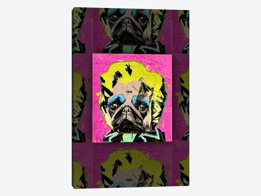 Pug Portrait by Ruud van Eijk 1-piece Canvas Artwork
