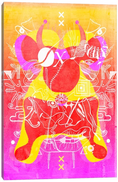 Yellow Red Bull Canvas Art Print