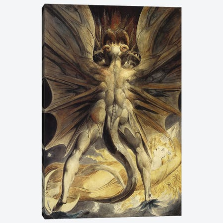 The Great Red Dragon and the Woman Clothed in the Sun, c. 1803-1805 Canvas Print #1172} by William Blake Canvas Art