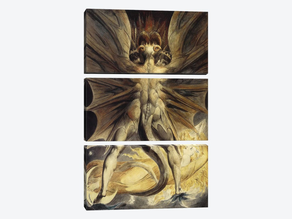The Great Red Dragon and the Woman Clothed in the Sun, c. 1803-1805 by William Blake 3-piece Canvas Wall Art