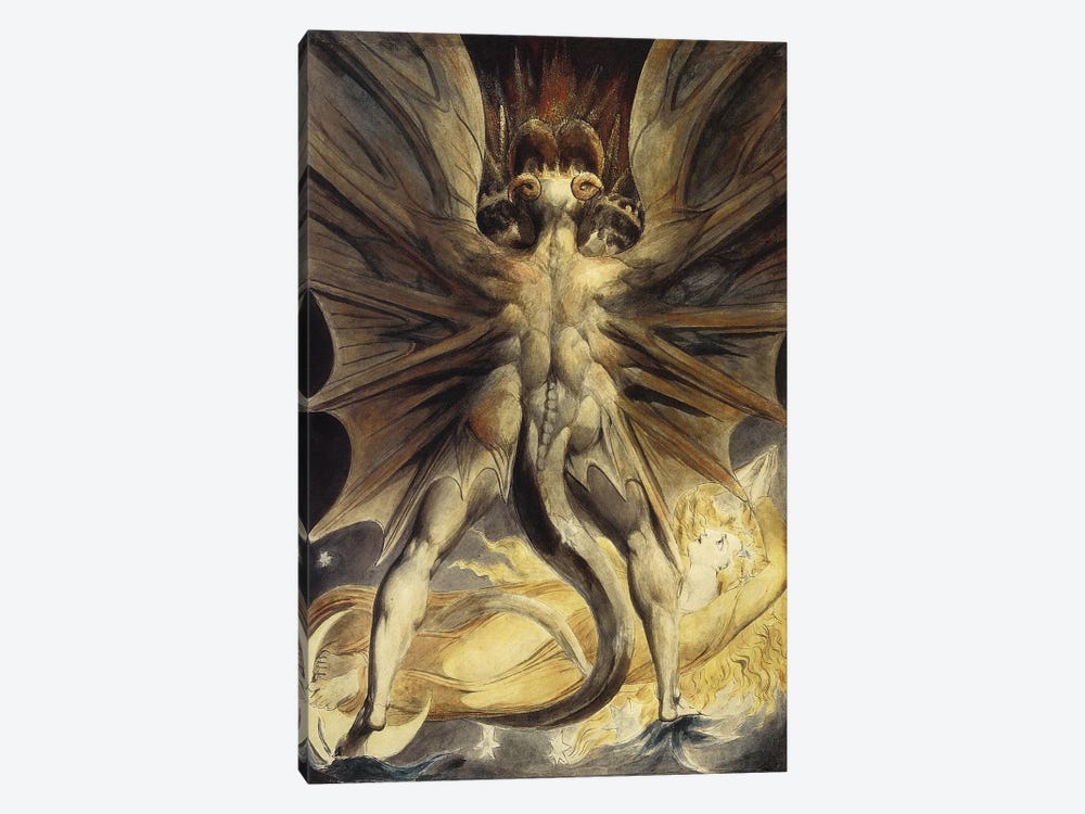 The Great Red Dragon and the Woman Clothed in the Sun, c. 1803-1805 by William Blake 1-piece Canvas Wall Art