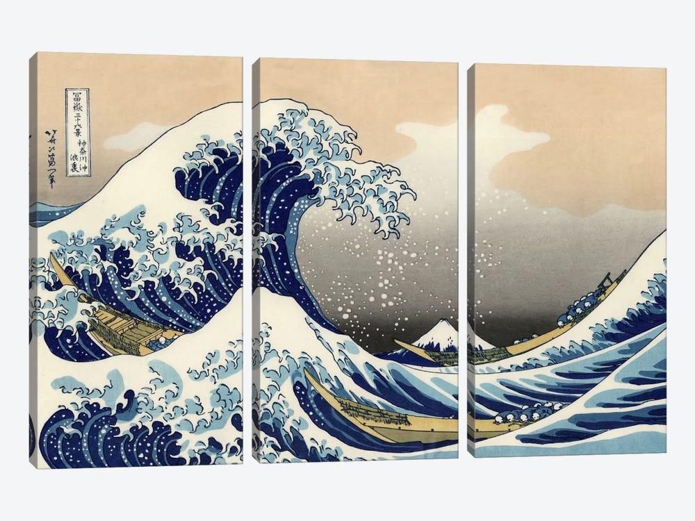 The Great Wave at Kanagawa, 1829 by Katsushika Hokusai 3-piece Canvas Print