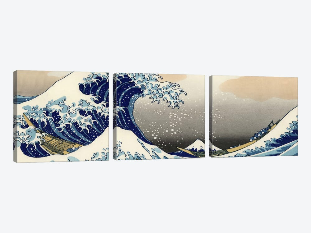 The Great Wave at Kanagawa by Katsushika Hokusai 3-piece Canvas Art
