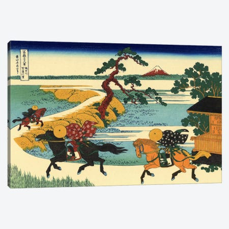 Barrier Town on the Sumida River (Sumidagawa Sekiya no sato) Canvas Print #1179} by Katsushika Hokusai Canvas Wall Art