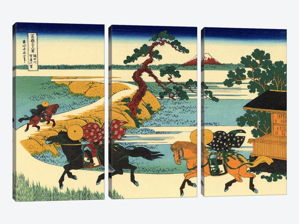 Barrier Town on the Sumida River (Sumidagawa Sekiya no sato) by Katsushika Hokusai 3-piece Canvas Art Print