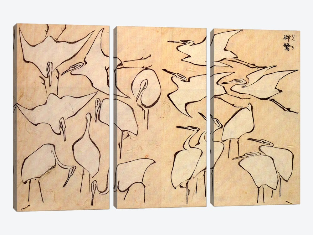Cranes by Katsushika Hokusai 3-piece Canvas Artwork