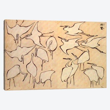 Cranes Canvas Print #1181} by Katsushika Hokusai Canvas Art Print