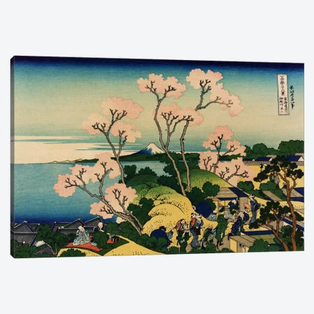 Goten-yama-hill, Shinagawa on the Tokaido (Tokaido Shinagawa Goten'yama no Fuji) Canvas Print #1184} by Katsushika Hokusai Canvas Wall Art