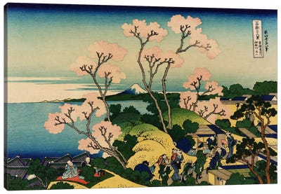 Goten-yama-hill, Shinagawa on the Tokaido (Tokaido Shinagawa Goten'yama no Fuji) by Katsushika Hokusai Canvas Wall Art