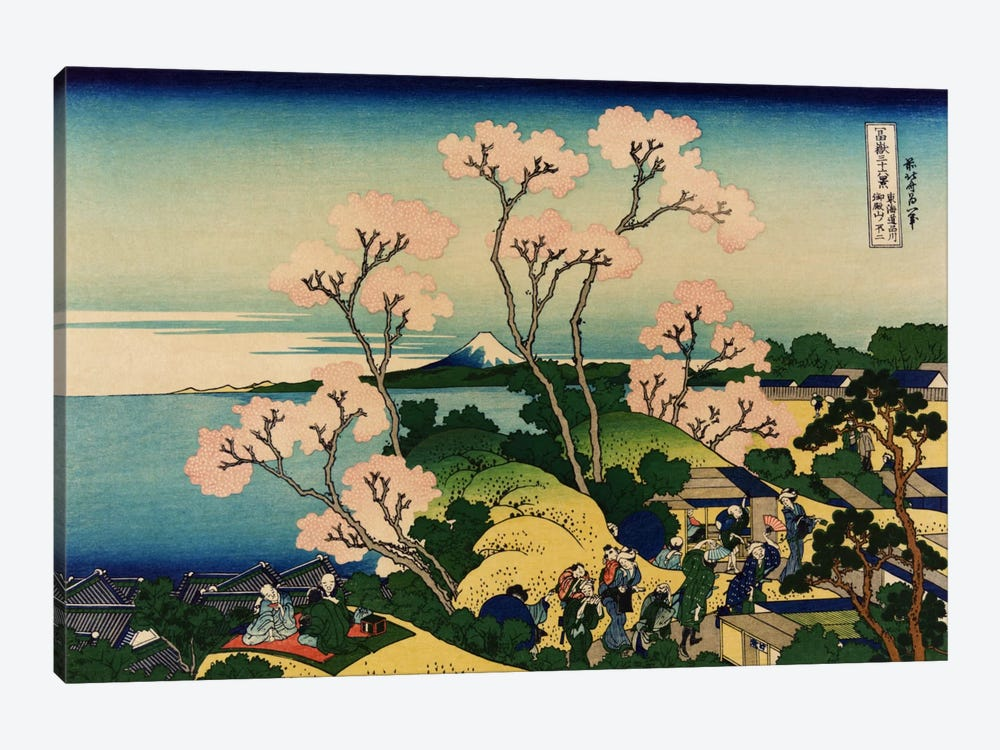 Goten-yama-hill, Shinagawa on the Tokaido (Tokaido Shinagawa Goten'yama no Fuji) by Katsushika Hokusai 1-piece Canvas Art Print