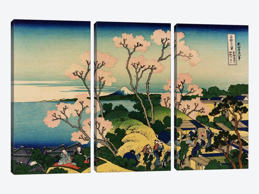 Goten-yama-hill, Shinagawa on the Tokaido (Tokaido Shinagawa Goten'yama no Fuji) by Katsushika Hokusai 3-piece Art Print