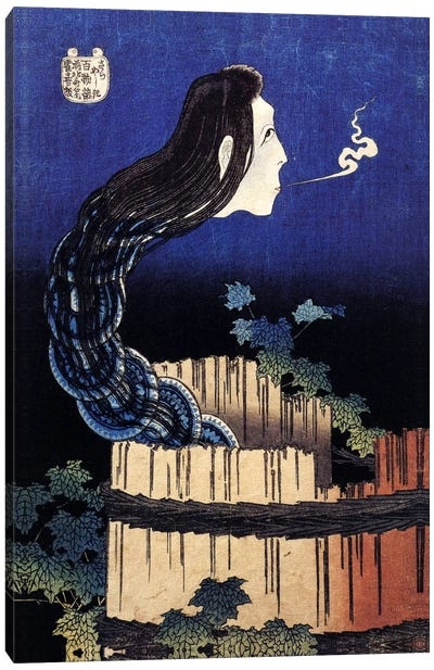 The Ghost Story of Okiku (Sarayashiki), 1830 by Katsushika Hokusai Canvas Wall Art