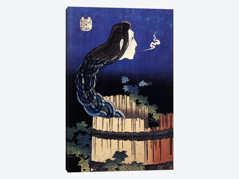 The Ghost Story of Okiku (Sarayashiki), 1830 by Katsushika Hokusai 1-piece Canvas Print