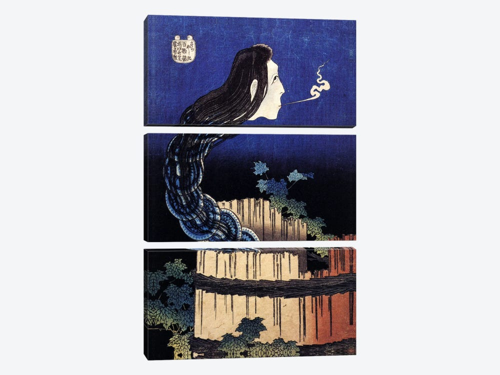 The Ghost Story of Okiku (Sarayashiki), 1830 by Katsushika Hokusai 3-piece Canvas Print