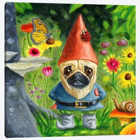Pug Gnome Canvas Print #12000} by Brian Rubenacker Canvas Print