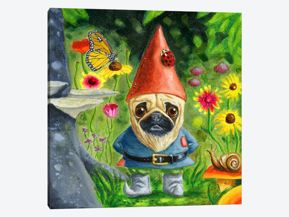 Pug Gnome by Brian Rubenacker 1-piece Canvas Artwork