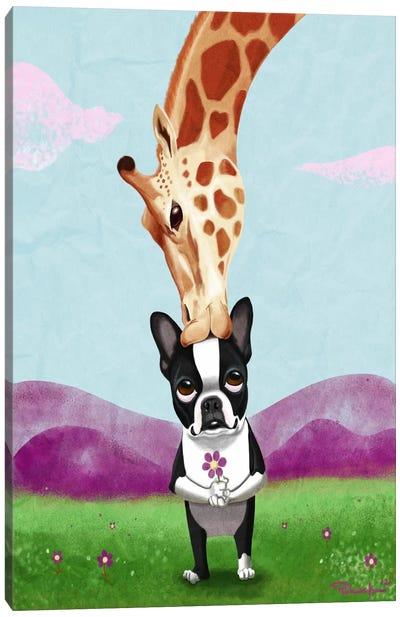 Boston Terrier & Giraffe Canvas Art Print