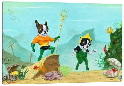 Aqua Terrier Canvas Art Print