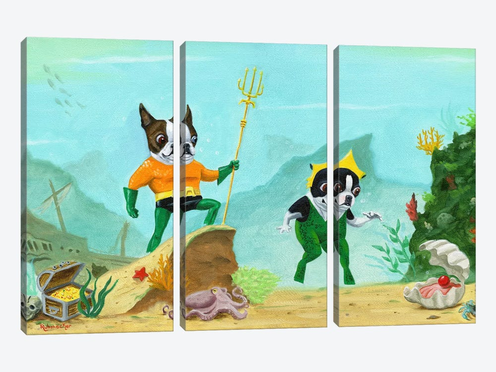 Aqua Terrier by Brian Rubenacker 3-piece Canvas Art