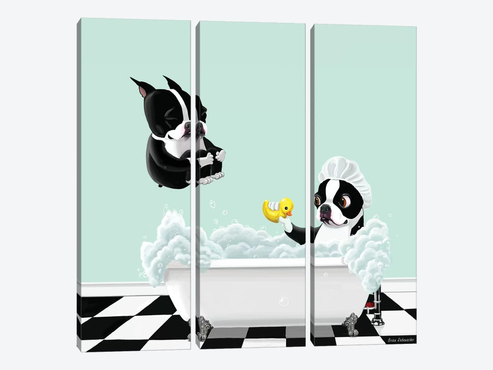 Bath Time by Brian Rubenacker 3-piece Canvas Art Print