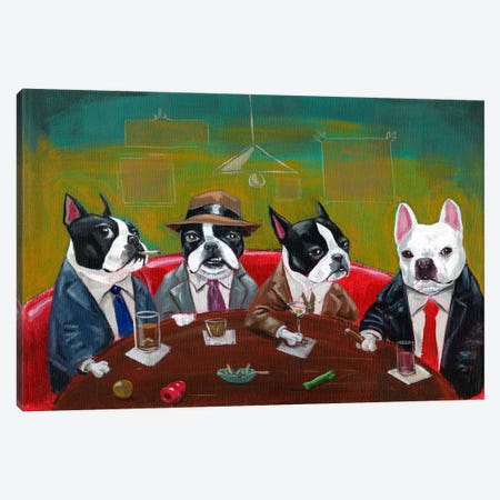 Three Boston Terriers And A French Bulldog Canvas Print #12008} by Brian Rubenacker Art Print
