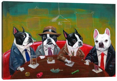 Three Boston Terriers And A French Bulldog Canvas Art Print